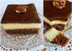 Καρυδόπιτα με κρέμα και γλάσο σοκολάτας #Γλυκά
