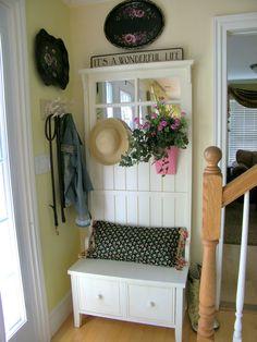 front door benchOld Door into Hall Tree  Repurposed Windows  Doors  Pinterest