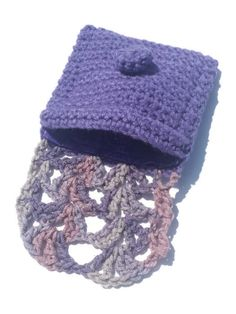 Purple Violet Handmade Crochet Pouch Fabric by MystifyGifts