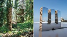 Mirrored and Wooden Letters Sculptures – Fubiz Media San Francisco Design, Pavilion Design, 3d Type, 3d Typography, Environmental Graphics, Display Design, Graphic Design Posters, Weird And Wonderful, Wooden Letters