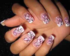 Flower Nail Art Designs Pink and White