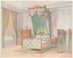Chambre a coucher Louis XVI, peinte en gris.