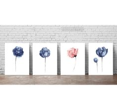 Navy Blue Peony Flowers Set, 4 Abstract Peonies Watercolor Painting, Baby Pink…
