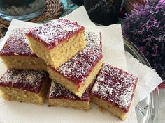 A traditional school jam and coconut tray bake that I'm sure you will love. Made with super soft sponge with a jam and coconut topping. Tray Bake Recipes, Easy Cake Recipes, Baking Recipes, Dessert Recipes, School Dinner Recipes, Old School Desserts, School Cake, Cake Tray, Cake Toppings