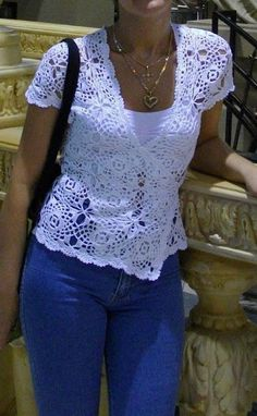 Crochet top made up from motifs… free pattern
