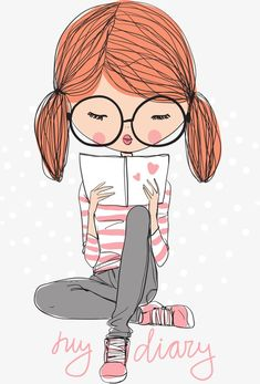 Vector girl reading, Character, Cartoon Characters, Vector Character PNG and Vector People Illustration, Illustration Girl, Cartoon Illustrations, Doodle Art, Illustration Mignonne, Girl Reading Book, Art Mignon, Cute Cartoon Girl, Girl Cartoon Characters