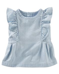Baby Girl Flutter-Sleeve Chambray Tunic | Carters.com Spring into warm weather with flutter sleeves. This soft chambray tunic can be dressed up or down for sweet style