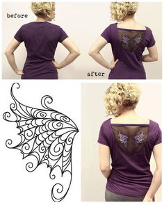 DIY Organza Floating Wings Tee Shirt Restyle Tutorial by Urban Threads here.