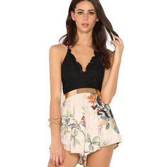 5e6aaeb40c41 2016 Print Cross Strap V Neck Floral Lace Backless Lace Summer Short  Jumpsuits Slim Overalls Regular Rompers Women Jumpsuit