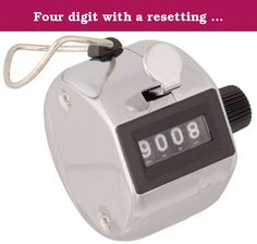 Four digit with a resetting knob, Finger Ring, Hand Tally, Counter (1 Each). Counters - Hand Tally - Ideally used in various counting jobs, such as inventory, production or receiving cargo counts. Casing is chrome plated for long term operation. Four digits with a resetting knob. Both styles include a finger ring.