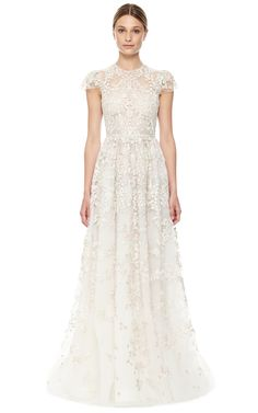 Valentino Avorio Multi Tulle Illusione Gown in White (Avorio Multi) | Lyst