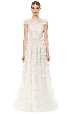 Valentino Avorio Multi Tulle Illusione Gown in White (Avorio Multi) | Lyst