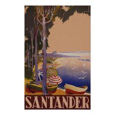 Santander Spain ~ Vintage Spanish Travel Poster