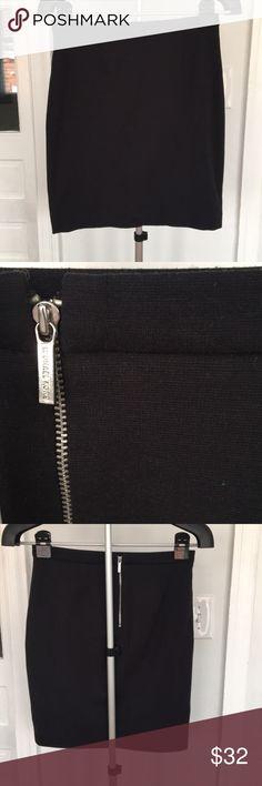 Black Michael Kors Skirt Black knit pencil skirt with exposed silver zipper on back- Michael Michael Kors MICHAEL Michael Kors Skirts Pencil