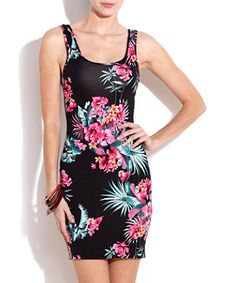 Tropical Bodycon Vest Dress