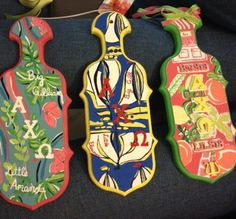 Hand Painted Lilly Pulitzer Sorority Paddles--I want the middle one! @christine bishop  @lindsey harville Please?!?! :)))