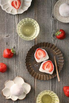 Craving Ichigo Daifuku (Strawberry wrapped in white bean paste and Mochi)  - perfect with afternoon green tea (strawberries, shiratama flour, sugar, sweet white bean paste (shiro an), water)
