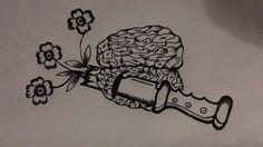 #brain #oldschool #tattoo #flash #flowers #black #idea