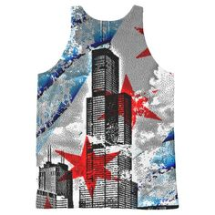 Vintage Chicago Flag Skyline Tower All-Over Print Tank Top Tank Tops