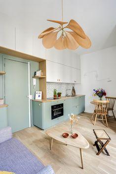 Studio Levallois-Perret: a redesigned 22 suburb of Paris - # . - Studio Levallois-Perret: a 22 suburb of Paris redesigned – # - Home Interior, Kitchen Interior, Kitchen Decor, Interior Decorating, Interior Design, Studio Apartment Decorating, Küchen Design, House Design, Casa Retro