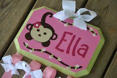 Bow Holder  MONKEY FUN Design  Large  by TheJellyBeanJunction,