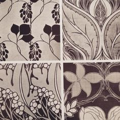 Art Nouveau Liberty prints in greyscale- very gothic #inspiration #bridal #liberty #artnouveau #print #gothic #taradeighton