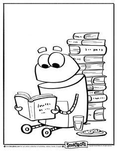 Coloring Sheet Reading Storybots