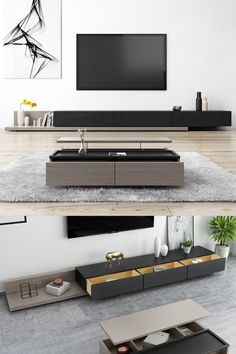 Kayla Wood Black and Gray Adjustable TV Stand Console with Storage, 79 Living Room Wall Units, Living Room Tv Unit Designs, Table Decor Living Room, Modern Tv Room, Living Room Modern, Media Room Design, Home Room Design, Muebles Living, Tv Stand Console