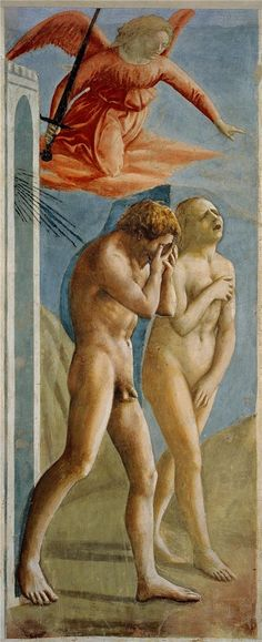 """Traditional Adam and Eve: Masaccio, """"Adam and Eve Banished from Paradise,"""" ca. 1427."""