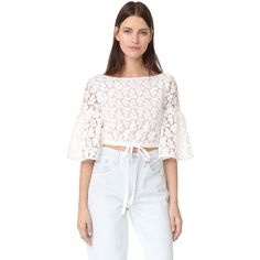 Milly Floral Embroidery Lydia Top ($200) ❤ liked on Polyvore featuring tops, white, see through tops, flower crop top, transparent top, embroidered crop top and short crop tops