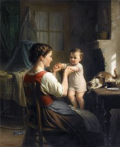 Fritz Zuber-Buhler - Mother And Child With Cat | da irinaraquel