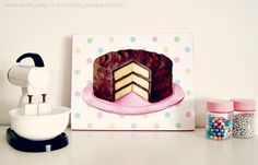 classic chocolate layer cake with polka dots 5x7 Art Print mini plaque by Everyday is a Holiday
