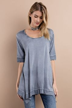 SUPER SOFT CASUAL FIT HALF SLEEVE FEATURING MIX N MATCH KNIT WOVEN OIL WASHED, WITH ROUNDED NECK AND SHARKBIT FLOWY LOOSE FIT TUNIC,    95%rayon, 5%spandex | Shop this product here: http://spreesy.com/ddstallons/66 | Shop all of our products at http://spreesy.com/ddstallons    | Pinterest selling powered by Spreesy.com
