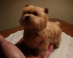 $95 Artist Needle Felted Norwich Terrier Dog Sculpture - Jennie