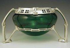 Osiris Peter Behrens Art Nouveau Bowl with Green Liner