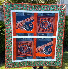 """Chicago cotton quilt 55""""x 62"""" fabric both sides Picnic / travel with 2 pillows Chicago Football, Chicago Bears, Quilted Gifts, Amish Quilts, Bachelorette Gifts, Quilts For Sale, Custom Quilts, Cotton Bedding, Baby Quilts"""