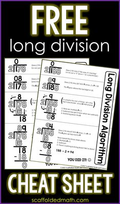 This long division reference sheet can help students with the steps of the long division algorithm. The free printable pdf can be enlarged into an anchor chart or slipped into a student math… Teaching Division, Math Division, Teaching Math, Division Algorithm, Division Anchor Chart, Fourth Grade Math, 7th Grade Math, Math Teacher, Math Classroom