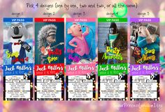 SING Movie Ticket Style Invitation  by SugarPrincessLaredo on Etsy