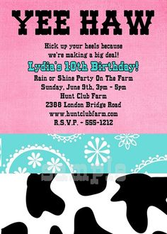 Tiffany Blue and Pink Cowgirl Birthday Party Invitations