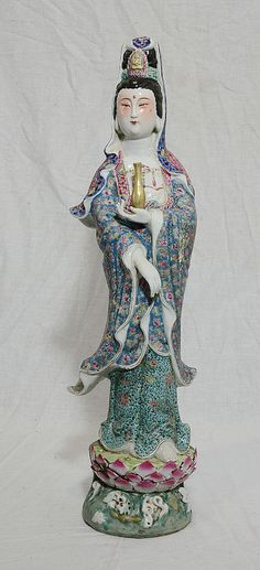 Chinese  Famille  Rose  Porcelain  Kwan-Yin  Figure  With  Mark