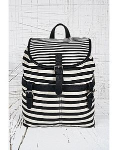 Striped Canvas Backpack in Black and White