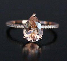 Pear Morganite Ring Morganite Engagement Ring by Twoperidotbirds