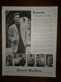 2 - Vintage Mens Clothing 1952 Original Print Ads Van Heusen & British Woolens