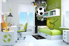 Creative soccer themed bedroom (Sandhaven Bordeaux - Sienna ...