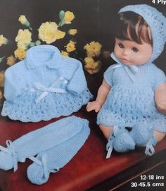 Welcome to heritage patterns. Digital download of a doll clothes 4ply knitting pattern to fit dolls 12 to 18 inches inches   all our patterns