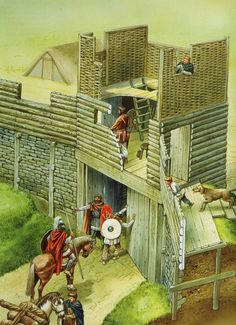 Artist Reconstruction of the South-west gate - Illustrated by Peter Dennis (Source - British Forts in the Age of Arthur)