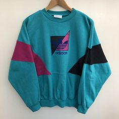 1dcb3573cbe Vintage 80s Adidas Colourblock Sweatshirt with big spellout - Depop