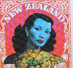 Lester Hall print which has been woven by an expert weaver Creative Communications, New Zealand Art, Nz Art, Kiwiana, Wall Collage, Printmaking, Weird, Illustration, Countries