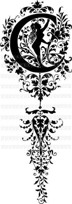 Vector Format Letter C Monogram Vintage by luminariumgraphics, $3.20