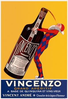Aperitif Vincenzo by J. Stall 1925 France - Vintage Poster Reproduction. This wine and spirits poster features a jester in blue and red diamond suit tipping a giant bottle to take a sip on a yellow background. Giclee Advertising Print. Classic Posters